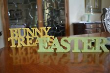 BUNNY TREATS & EASTER Letter Signs Yellow Spring Green Colors Light Glitter NEW