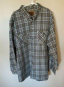 Outdoor Life Button Up Shirt Men Size XXL Blue Brown Plaid Long Sleeve Casual
