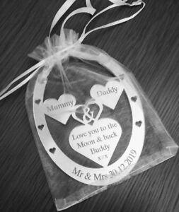 Wedding day lucky horse shoe gift Mummy & Daddy personalised keepsake