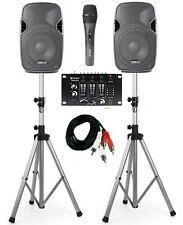 IMPIANTO AUDIO KARAOKE DJ  2 casse amplificate + 2 stativi + mixer + microfono
