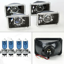 "FOUR 4x6"" Semi Sealed H4 Black Chrome Projector Headlights Conversion Oldsmob"