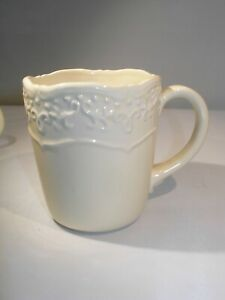 """Set/4  Ivory Colored Coffee Cups """"Vintage Grace"""" by Tara...""""Temptations"""" Line"""