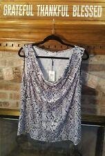 Calvin Klein Women's Plus Sz. 1X Sleeveless Black/Grey/Cream Blouse NWT