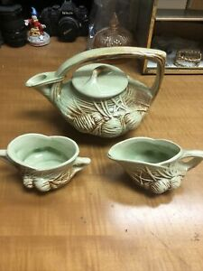 Vintage McCoy Pottery Pine Cone Tea Set Green & Brown Great Condition!