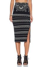 Free People S New Black Pencil Skirt Pull-on Stretch Jacquard Striped $128 NWT