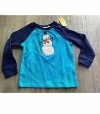 *New* Lightning Bug Snowman Long Sleeved Blue Raglan Long Shirt Rv $33. 2T