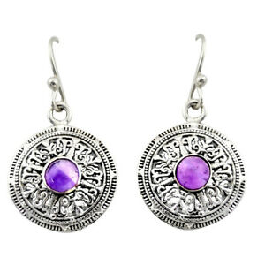 925 Sterling Silver 2.05cts Natural Purple Amethyst Dangle Earrings D47028