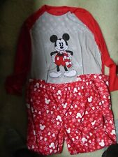 MENS  3XLT DISNEY - MICKEY MOUSE HOLIDAY PAJAMA TOP & BOTTOM - RED & GRAY-NWT
