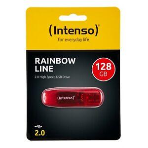 Intenso USB Stick Rainbow Line 128GB 2.0 Speicherstick 128 GB 3502491 rot