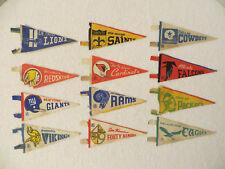 "Vintage 1970's NFL RETRO MINIATURE PENNANTS Set of 12 Felt 3"" x 7"" Pennants"