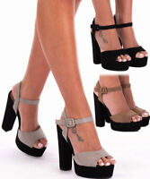 Women's Ladies Block High Heel Ankle Strap Peep Toe Strappy Girls Sandals Shoes