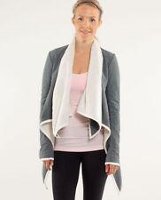 LULULEMON presence of mind wrap jacket in polar cream and grey size 6 fleece