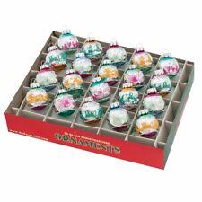 "Radko Shiny Brite 1.25"" Vintage Celebration Signature Flocked Box of 20 Ornament"
