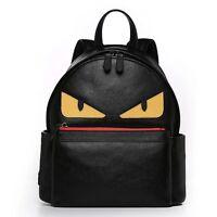 New Women's Girls Yellow Eyes Monster Cowhide Genuine Leather Backpack Bookbag