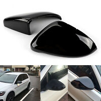 Pair Gloss Black Wing Mirror Covers Caps Direct Replace For VW Golf GTI MK7 7.5