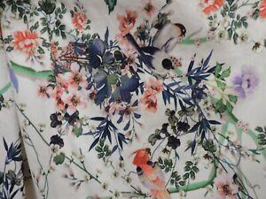 Monsoon Ladies White Floral/Bird Pattern Beaded Strapless Dress Size UK 10