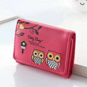 Women Girls Leather Wallet Trifold Coin Card Holder Mini Small Purse Coin Purse