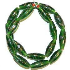 "G1414f Green w Copper Colored Glitter & Swirls 26mm Oval Lampwork Glass Bead 16"""
