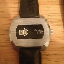 Black & Silver Lucerne Jump Hour Direct Read Windup Metal Watch. 1970s Works