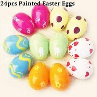 24pcs Easter Eggs Plastic Bright Egg Assortment DIY Decoration Toys Kids Gift