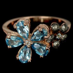 GENUINE AAA SWISS BLUE TOPAZ & WHITE CZ STERLING 925 SILVER FLOWER RING 5.25