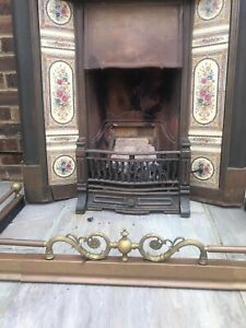 Casr Iron Tiled  Fire Surround With Gas Fire