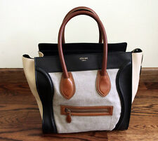 CELINE Tricolor Mini Shopper Luggage Tote Handbag 100% AUTHENTIC GUARANTEED