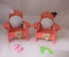 Wedding Reception Real Seashell Adirondack Names Chairs Veil & Hat Cake Topper