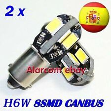 2X BOMBILLAS H6W / BAX9S /  8 LED 5630 5730 BLANCO CANBUS ERROR FREE #3001
