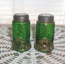 Eapg US Glass Colorado-Green Salt & Pepper circa 1900 Lacy Medallion Gilt Gold