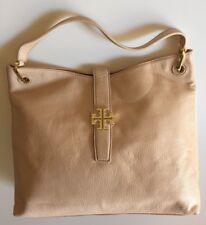 215cc01c992 Tory Burch Plaque Light Oak Leather Hobo Gold Logo Handbag MSRP  495+