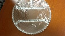 Vintage Pressed Glass Clear divided Serving platter Round  dish Relish  plate