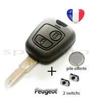 plip coque clé Peugeot 106 206 206+ 206CC 306 107 207 307 + pile + 2 switchs