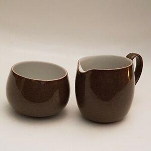 Denby Pottery Greystone Sugar Bowl and Milk Jug Brown Fleck (B10)