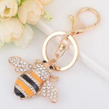 Fashion Rhinestone Metal Bee Insect Key Chain Key Ring Women Handbag Pendant