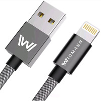 2m Widmann Lightning Datenkabel USB Ladekabel für Apple iPhone iPad iPod Nylon