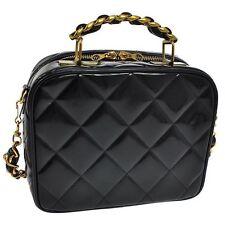 RARE CHANEL Vintage Patent Leather Lunchbox Vanity Trunk Camera Bag Black