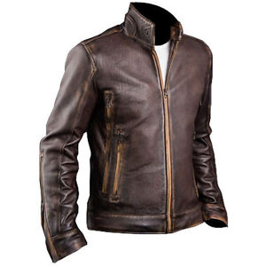 Mens Cafe Racer Stylish Biker Brown Distressed Motorcycle Leather Jacket