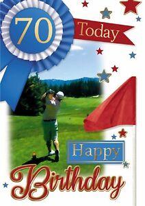 Age 70 Male Golf Birthday Card. 70 Today Happy Birthday Card