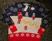 NEW Men's Ugly Christmas Sweater Yellow Snow  Funny Santa Peeing Ho Ho Ho XXL