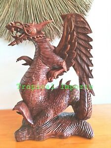 BALI ART EXTRA LARGE 53 CM DRAGONS WINGS STATUE WOOD CARVED LUCKY FENG-SHUI