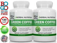 BOGO! Green Coffee Bean Extract Multi-Level Dosing 400mg -1200mg Two Bottles