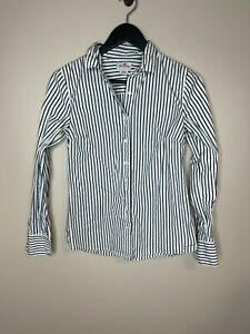 J. Crew Black White Striped Button Up Shirt Size Small Womens See Listing C11