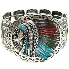 WESTERN COWGIRL NATIVE CHIEF INDIAN HEAD COLORFUL FEATHER STRETCHABLE BRACELET