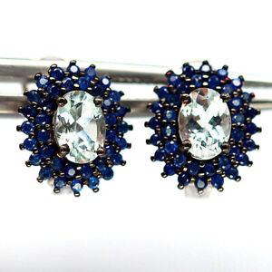 NATURAL WHITE AQUAMARINE & BLUE SAPPHIRE 925 STERLING SILVER EARRINGS