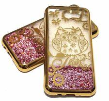 For Samsung Galaxy J3 EMERGE - Gold Owl Flowers Pink Glitter Stars Liquid Case