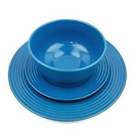 ROYAL NORFOLK Blue Stoneware Ribbed Place Setting Dinner Salad Plate Soup Bowl