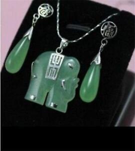 Beautiful! green jade elephant Jewellery necklace Pendant earring Set