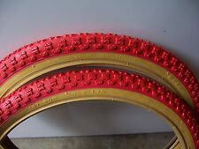 "BICYCLE 2 TIRES 2 TUBES 20"" X 1.75 ALL RED GUM WALL CRUISER BMX BIKES"
