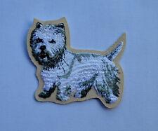 patch , chien, westie, broder et thermocollant7/6.5cm